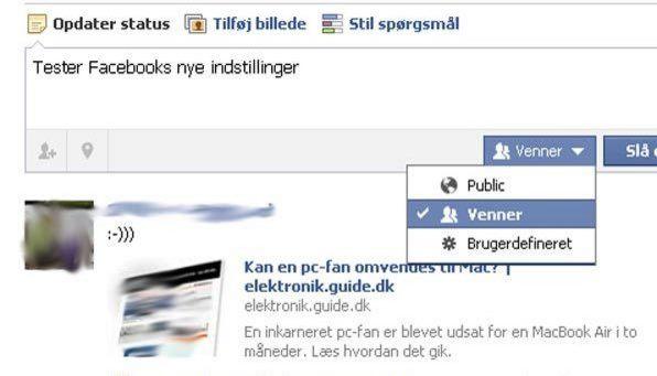 Status-muligheder Facebook
